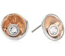 Damen-Ohrstecker Edelstahl rhodiniert Synthetischer Diamant weiß - TJ1649