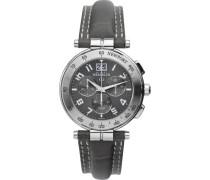 Herren-Armbanduhr Newport Chronograph leder grau 36657/22GR