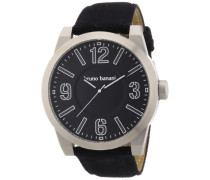 Bruno Banani Herren-Armbanduhr XL TARAS BIG Analog Quarz Leder BR21108