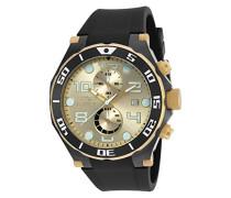 Herren Uhr mit Quarz Gold Zifferblatt Chronograph-Anzeige und schwarz Polyurethan Gurt 17815
