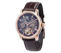 Longitude Shadow ES-8063-06 Herren-Armbanduhr mit Automatikgetriebe, braunes Zifferblatt mit Skelett-Anzeige, braunes Lederarmband