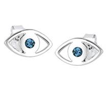 Damen-Ohrstecker Evil Eye 925 Silber Swarovski Kristall blau Brillantschliff - 0309780115