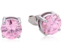 Damen-Ohrstecker Edelstahl Kristall pink