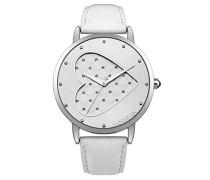 –m1241W-a Damen-Armbanduhr 045J699Analog silber–Armband Leder Weiß