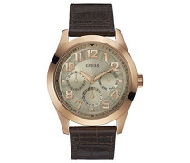 Herren-Armbanduhr Analog Quarz Leder W0597G1