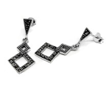 Halskette aus Sterling Silber und Markasit, quadratisch, Tropfenform, Länge 2,97 cm