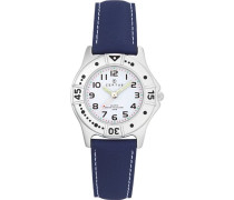 –Comfortkissen–647401-Armbanduhr Analog Quarz Weiß Zifferblatt PU strap-blue