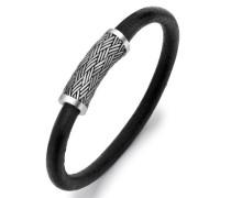 Herren Sterling Silber u. Lede Bambusgeflecht Armband