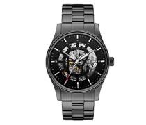 Carvelle New York Herren Automatik Uhr mit schwarzem Zifferblatt Analog-Anzeige und grau Edelstahl Armband 45A121