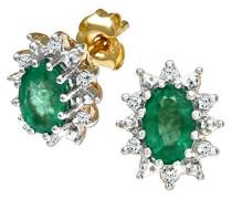 Damen-Ohrstecker 9 K 375 Gelbgold Smaragd grün PE01535Y EM