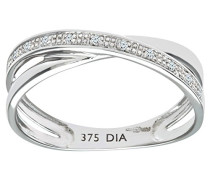 Damen-Ring 9 K Weißgold P1 Diamant