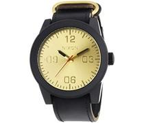 Nixon Herren-Armbanduhr XL Corporal Black Gold Analog Quarz Leder A243010-00
