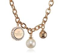 Rebecca Damen-Kette mit Anhänger Hollywood Vergoldet teilvergoldet Zirkonia weiß Synthetische Perle Weiß 38.0 cm - BHOKOO01