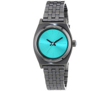 Nixon Damen-Armbanduhr XS Small Time Teller Gunmetal Light Blue Analog Quarz Edelstahl A3991697-00