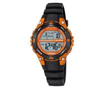 Unisex Armbanduhr Digitaluhr mit LCD Zifferblatt Digital Display und schwarz Kunststoff Gurt k5684/7