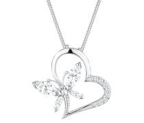 Damen-Kette mit Anhänger Herz, Schmetterling 925 Sterling Silber Zirkonia weiß Marquiseschliff 0107942513_45
