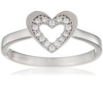 Damen-Ring 375 Gelbgold Rundschliff 9 K weiß Oxyde de Zirconium