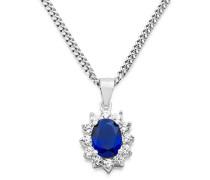 Damen-Halskette 925 Sterling Silber Saphir blau und Zirconia Anhänger 45 cm Kette MS005N