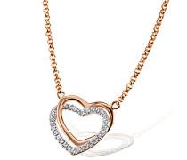 Damen-Herz-Halskette 925 Sterlingsilber rot vergoldet weiße Zirkonia rosegold Herzanhänger
