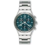 Swatch Herren-Armbanduhr XL Analog Quarz Edelstahl YCS438G