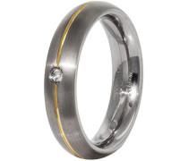 Unisex-Ring Titan teilvergoldet Diamant (0.03 ct) weiß Brillantschliff