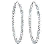 PREMIUM Damen Schmuck Ohrringe Creolen Glamour Elegant Silber 925 Swarovski Kristalle Weiß