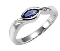 Fascination by Ellen K. Damen-Ring 375 Weißgold rhodiniert Saphir Marquiseschliff blau