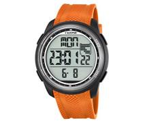 Unisex-Digitalarmbanduhr mit LCD-Anzeige und orangem Kunststoffarmband, K5704/2