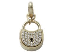 Damen-Charm Anhänger Schloss Edelstahl IP gold Zirkonia JF00036710