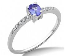 Damen-Ringe 9 k (375) Weißgold Diamant