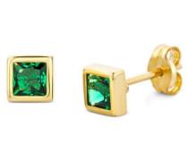 Miore Damen-Ohrstecker 375 Gelbgold Smaragd grün Quadratschliff