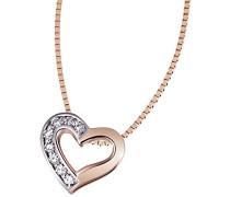 Damen-Herz-Halskette Bicolor Gold Herz 3 Diamanten 0,03 Karat Herzanhänger Diamantkette