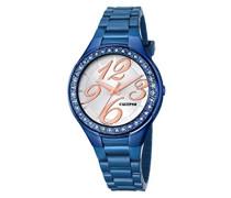 Damen Quarzuhr mit Silber Zifferblatt Analog-Anzeige und Blau Armband Kunststoff K5637/9