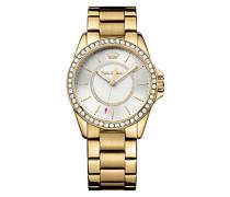 Juicy Couture Laguna Damen Quarzuhr mit Silber Zifferblatt Analog-Anzeige und Gold Armband 1901409