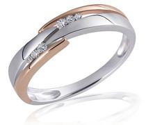 Damen-Ring 925 Sterling Silber weiß Diamanten 6 Diamanten 0,07 ct.
