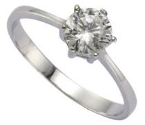 Damen-Ring 925 Sterling Silber 6mm Zirkonia weiß