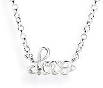 Damen- Collier Love Anhänger 925 Silber Brillantschliff Zirkonia weiß LD LO 31