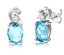 Damen-Ohrstecker 925 Sterling- Silber Ovalschliff Blau
