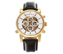 Automatik Armbanduhr von  für Männer mit einem echten Diamanten mit Weißem Zifferblatt Analoger Anzeige und Schwarzem Armband aus Leder SK14H055