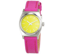 Nixon Damen-Armbanduhr Small Time Teller Neon Yellow / Hot Pink Analog Quarz Leder A5092081-00