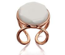 Costume Damen Rose Gold Teller Stein Ring–Größe L