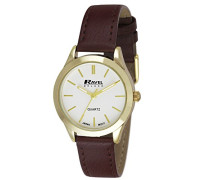 Damen-Armbanduhr  Ladies Deluxe Classic Watch on a Genuine Leather Strap. Analog Leder Braun RD006.2GL