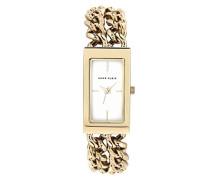 Damen Quarzuhr mit weißem Zifferblatt Analog-Anzeige und Gold Edelstahl Armband AK/n1668wtgb