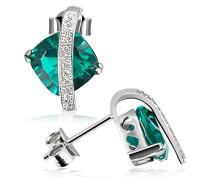 Damen-Ohrstecker smaragdgrün 925 Sterlingsilber Zirkonia weiß Fa O25605S