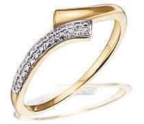 Damen-Ring Bicolor 585 Gelbgold 3 Diamanten SI/H 0,01 ct.