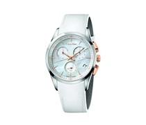 CK Herren-Armbanduhr XL Chronograph Quarz Leder K5A37BLG