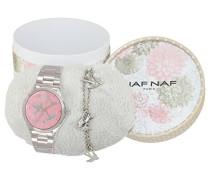 Naf NafGaya Weihnachts-Schatulle Damen-ArmbanduhrQuarz analogZifferblatt Rosa silberfarbenes Stahl-Armband und Schwalben-Armband N10150–212