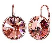 -   925 Sterling-Silber   vergoldet Rundschliff   pink/rosa Cristal