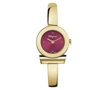 Salvatore Ferragamo Gancino Bracelet Damen Quarz-Uhr mit Burgund Dial und Gelbgold Armreif Armband FQ5080016