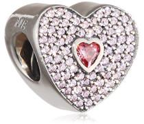 Damen-Bead Liebes Pavé-Herz 925 Silber Zirkonia rosa - 791555CZS
